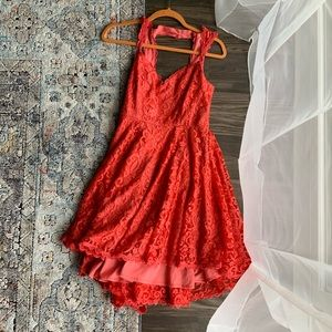 Lacey backless coral dress